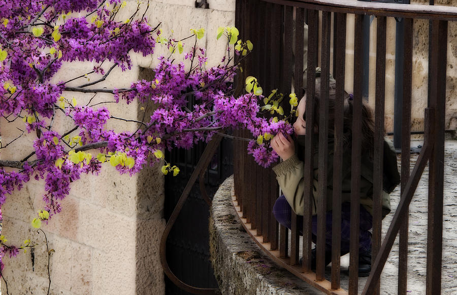Girl Photograph - Smelling The Flowers by Obi Martinez