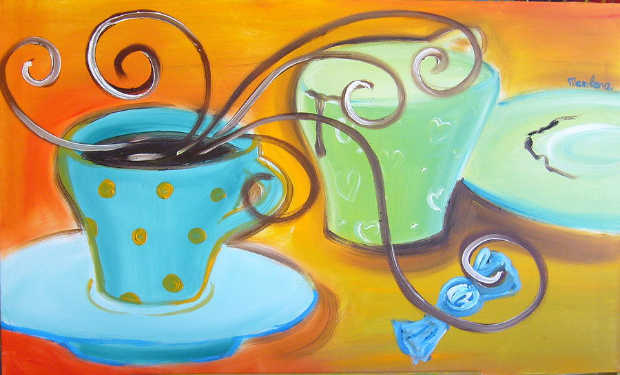 Coffee Painting - Smells And Sensations by Marilena  Pilla