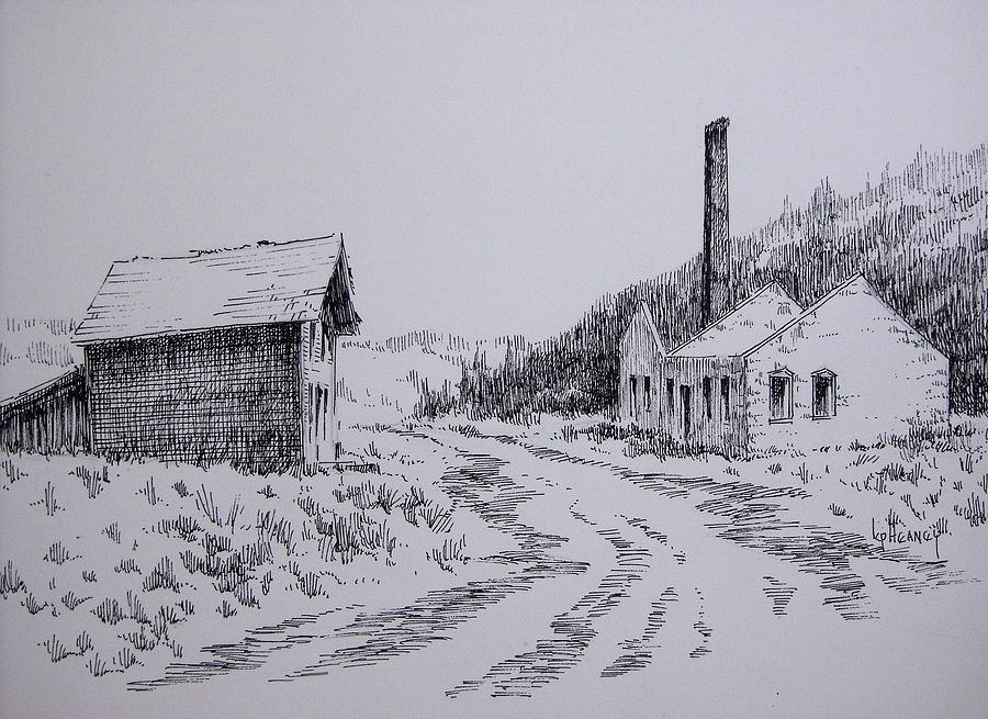Ghost Town Drawing - Smelter Ruins Glendale Ghost Town Montana by Kevin Heaney