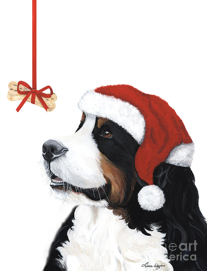 Bernese Mountain Dog Painting - Smile Its Christmas by Liane Weyers