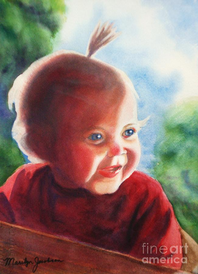 Little Girl Painting - Smile by Marilyn Jacobson