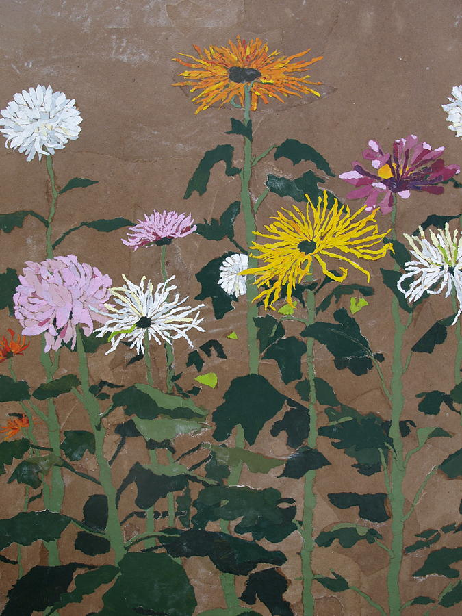 Collage Painting - Smiths Giant Chrysanthemums by Leah  Tomaino