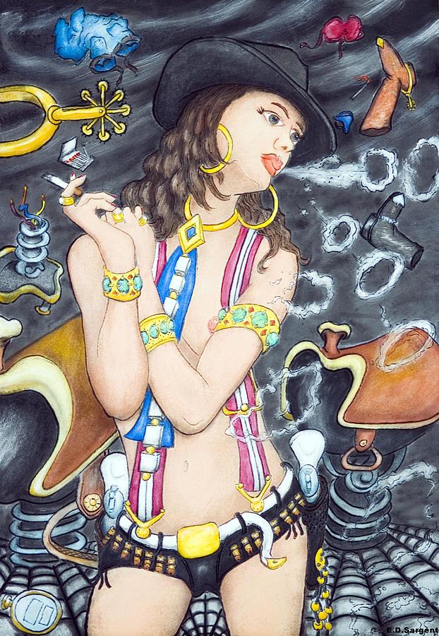 Cowgirl Painting - smoke N Os by Eddie Sargent