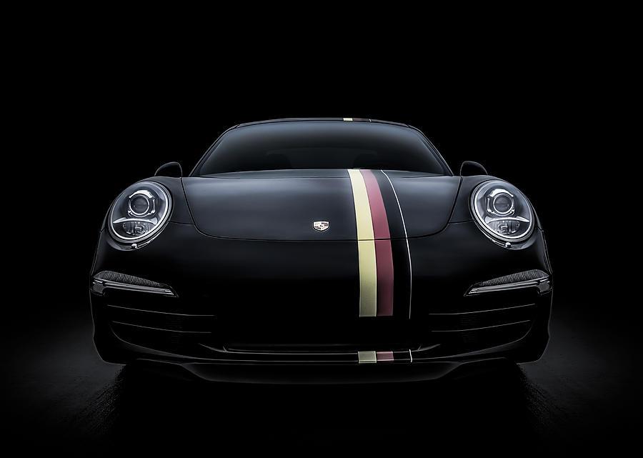 Porsche Digital Art - Black Porsche 911 by Douglas Pittman