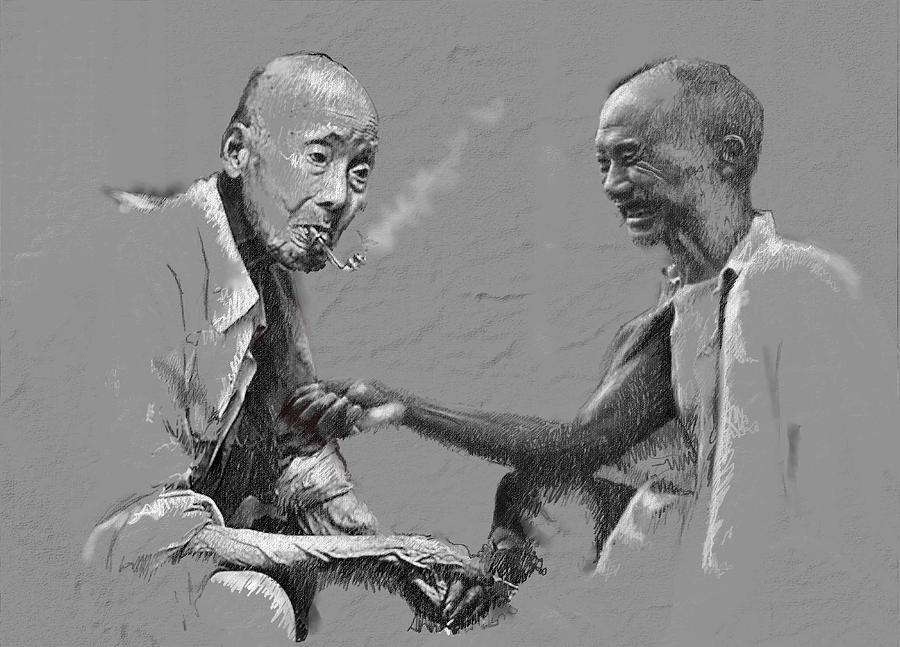 Chinise Men Painting - Smoke Time by James Robinson