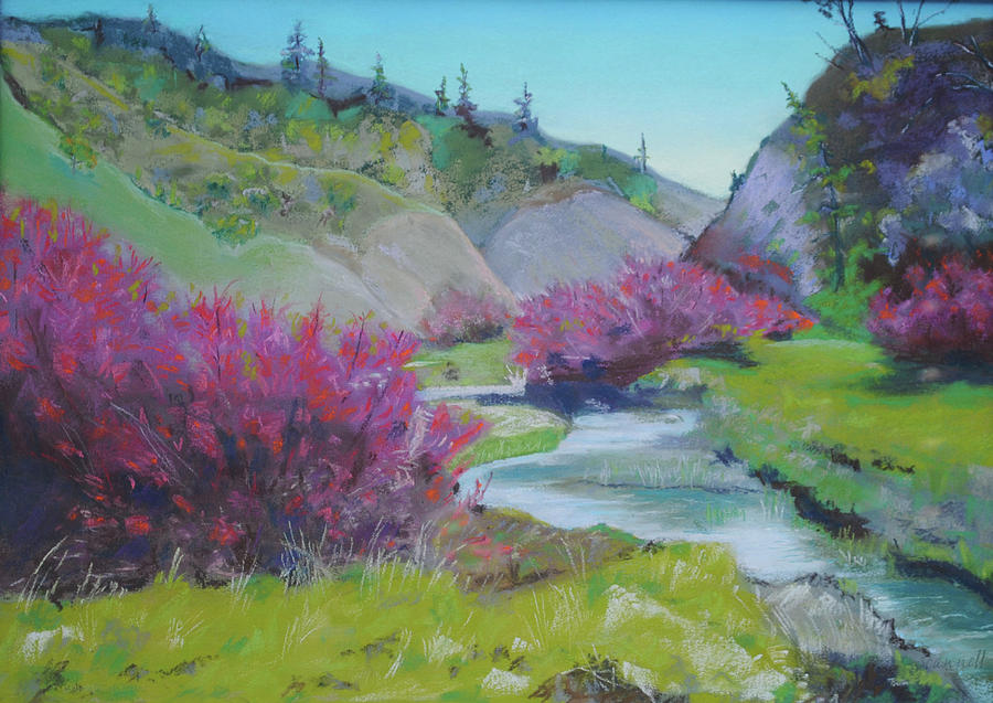 Smoke Tree Painting - Smoke Trees By The Creek by Dan Scannell