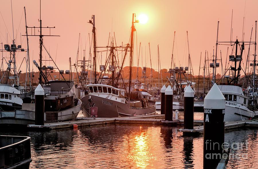 Smokey Sunset Crescent City Marina 1 by Al Andersen