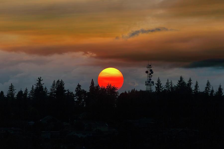 Sunset Photograph - Smokey Sunset over Mount Scott by David Gn