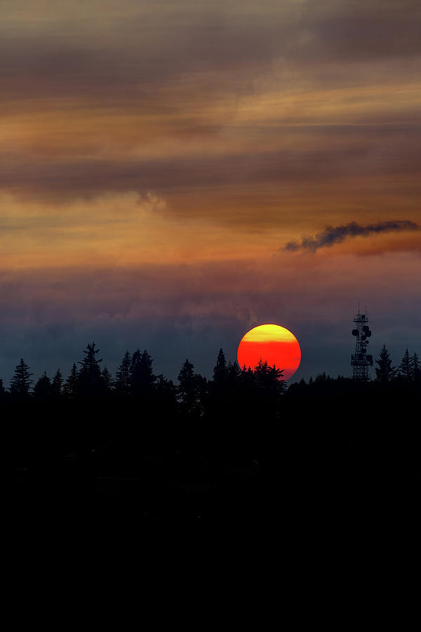 Sunset Photograph - Smokey Sunset Sky Over Mount Scott by David Gn