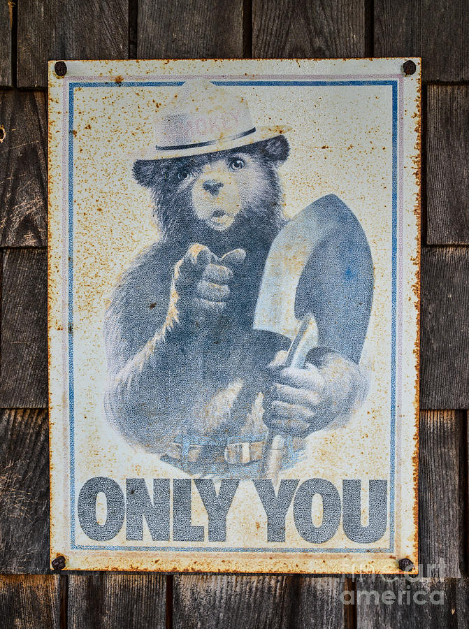 Smokey The Bear Vintage Sign by Glenn Gordon