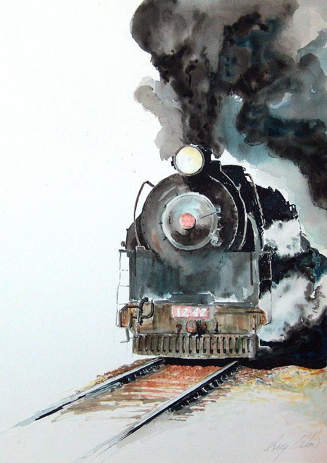 Trains Painting - Smokin by Greg Clibon