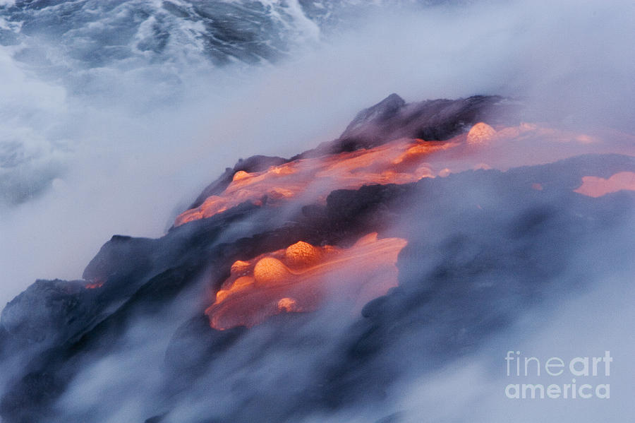 Abstract Photograph - Smoking Pahoehoe Lava by Ron Dahlquist - Printscapes