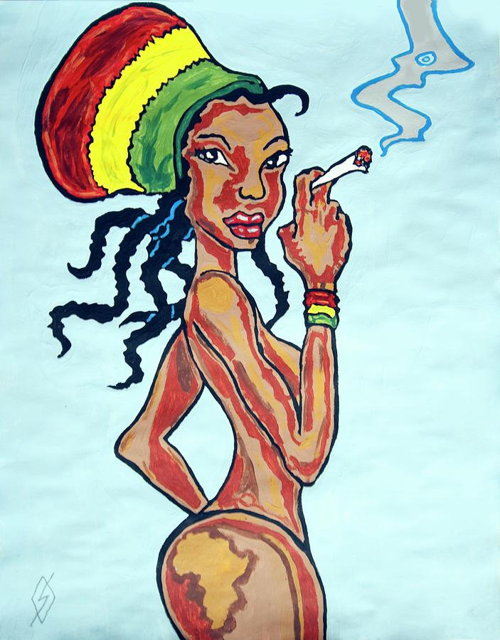 Smoking rasta woman painting by stormm bradshaw
