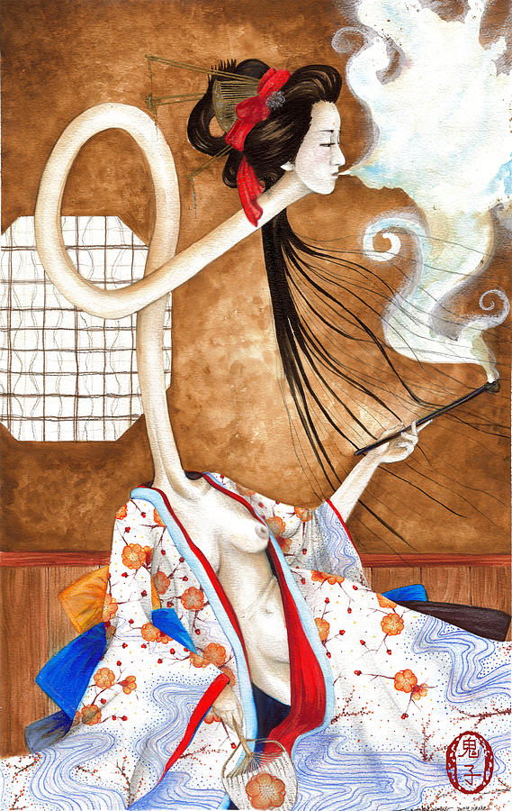 Japan Painting - Smoking Siren by Rachel Walker