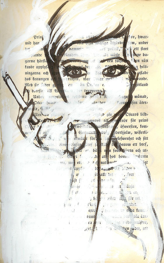 Smoking Woman Marker Drawing On Vintage Book Page