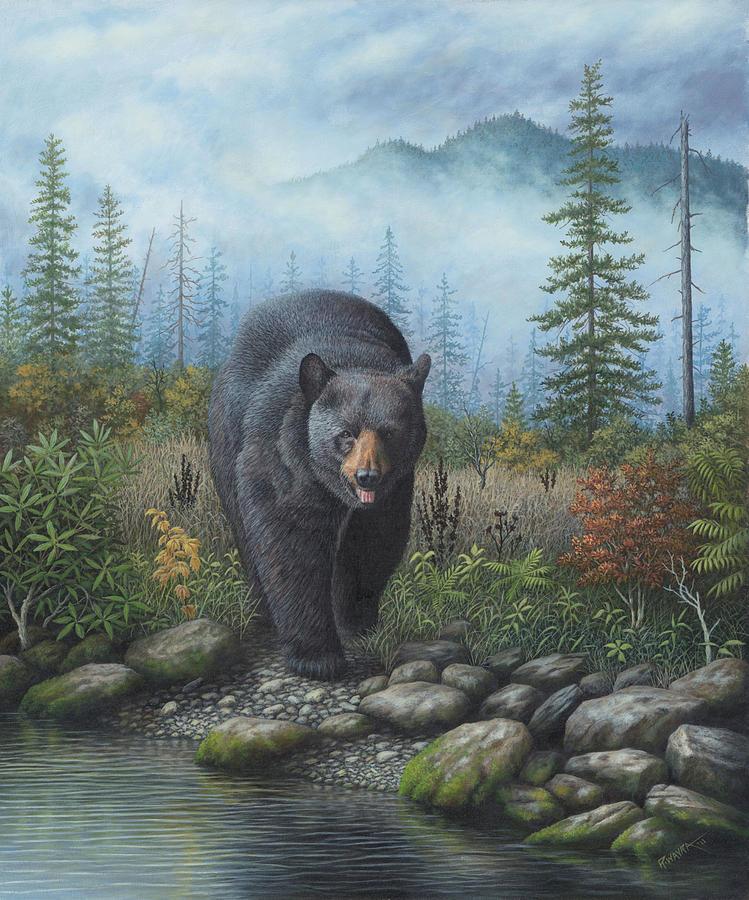 Smoky Mountain Black Bear Painting By Robert Wavra
