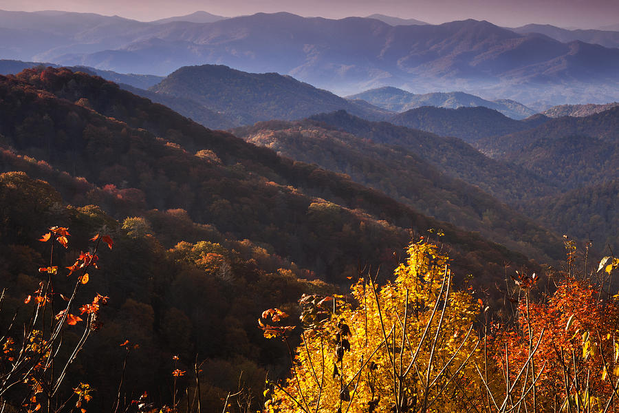 Oconaluftee Photograph - Smoky Mountain Hillsides At Autumn by Andrew Soundarajan