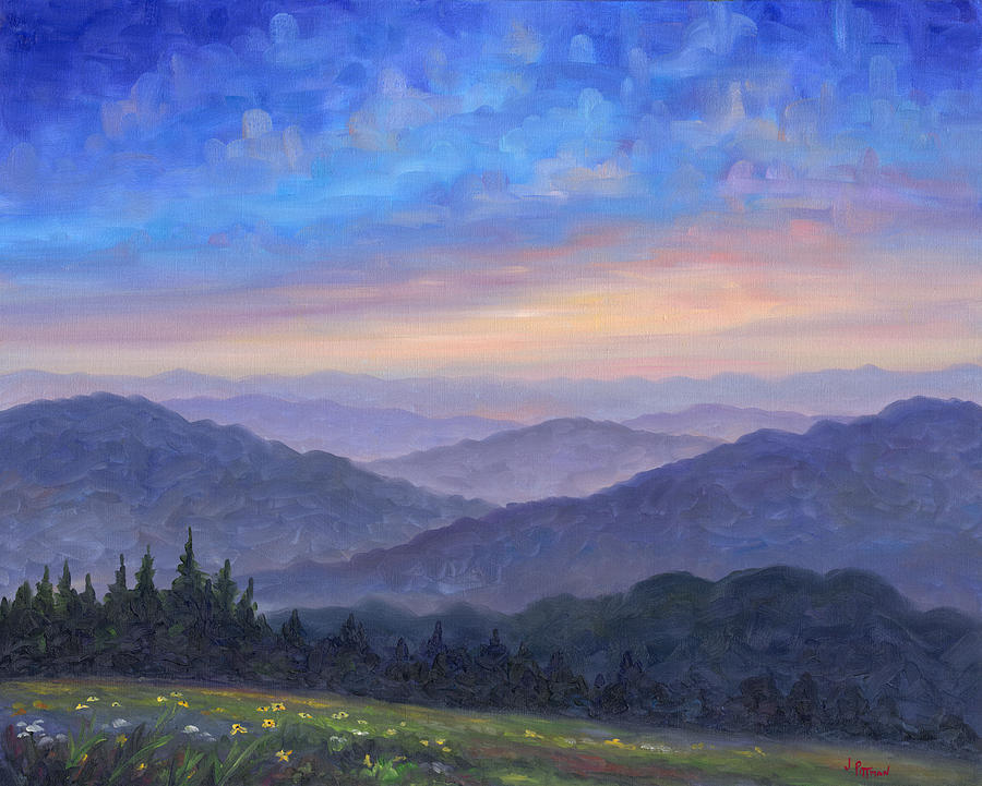 smoky mountain wildflowers painting by jeff pittman. Black Bedroom Furniture Sets. Home Design Ideas