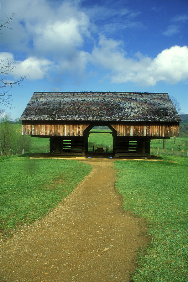 National Park Photograph - Smoky Mountains Cantilever Barn by John Burk