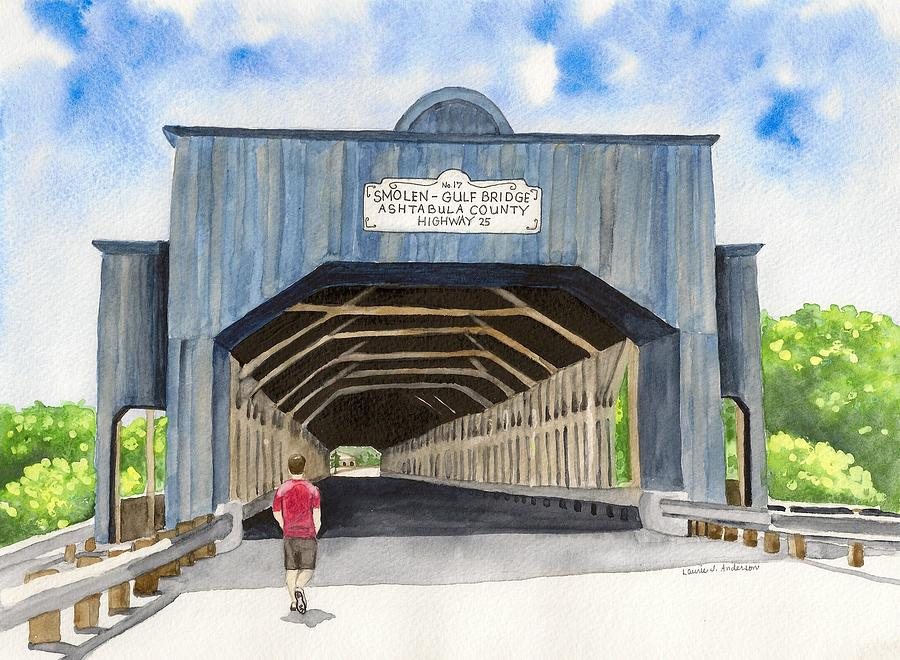 Watercolor Painting - Smolen-gulf Bridge by Laurie Anderson
