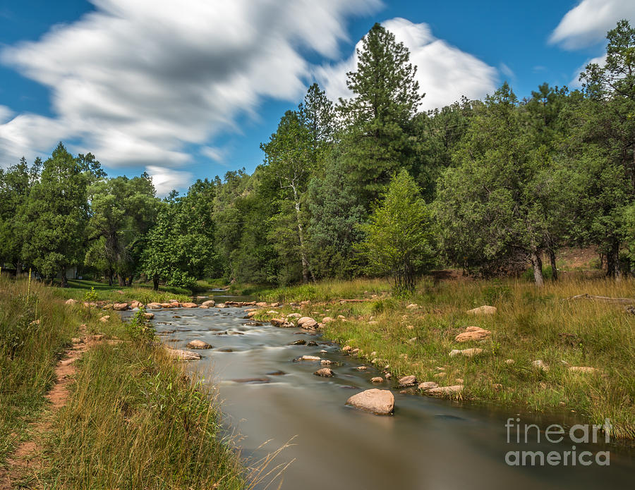 Landscape Photograph - Smooth Mountain Stream by Leo Bounds