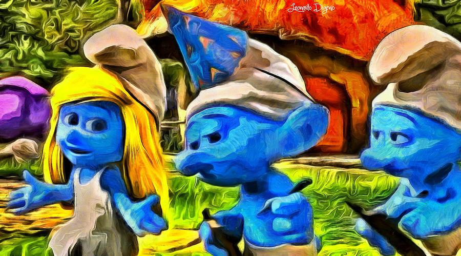Smurf Digital Art - Smurfette And Friends - Da by Leonardo Digenio