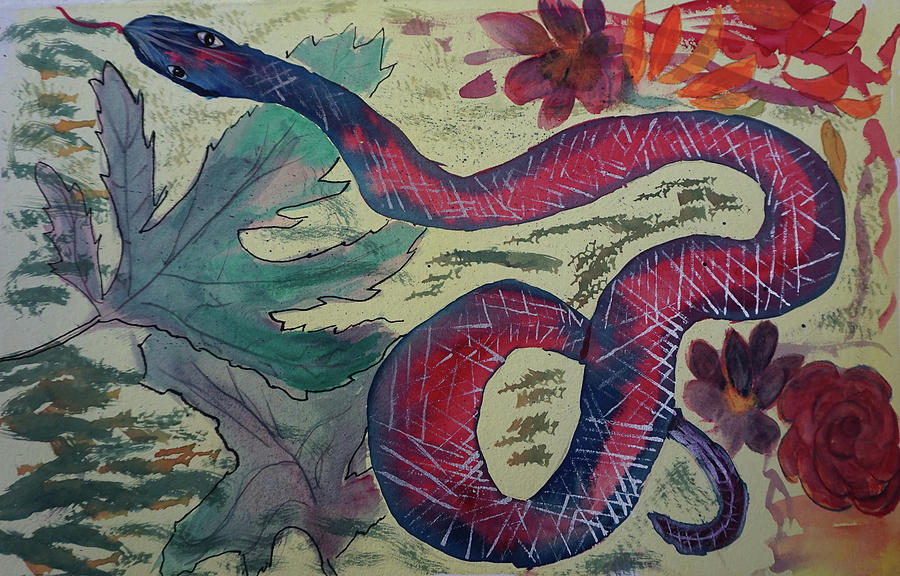 Snake Painting - Snake In The Garden by Cathy Anderson
