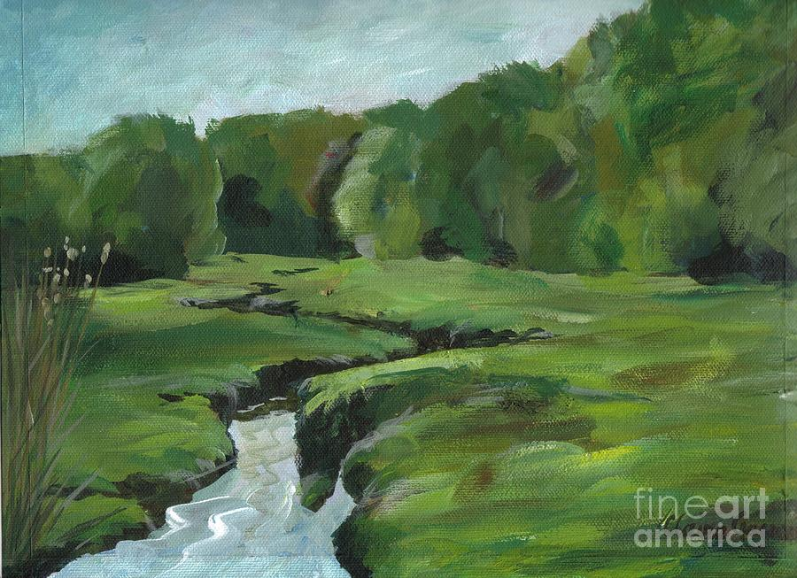 Acrylic Painting - Snake Like Creek 2 Maine by Claire Gagnon