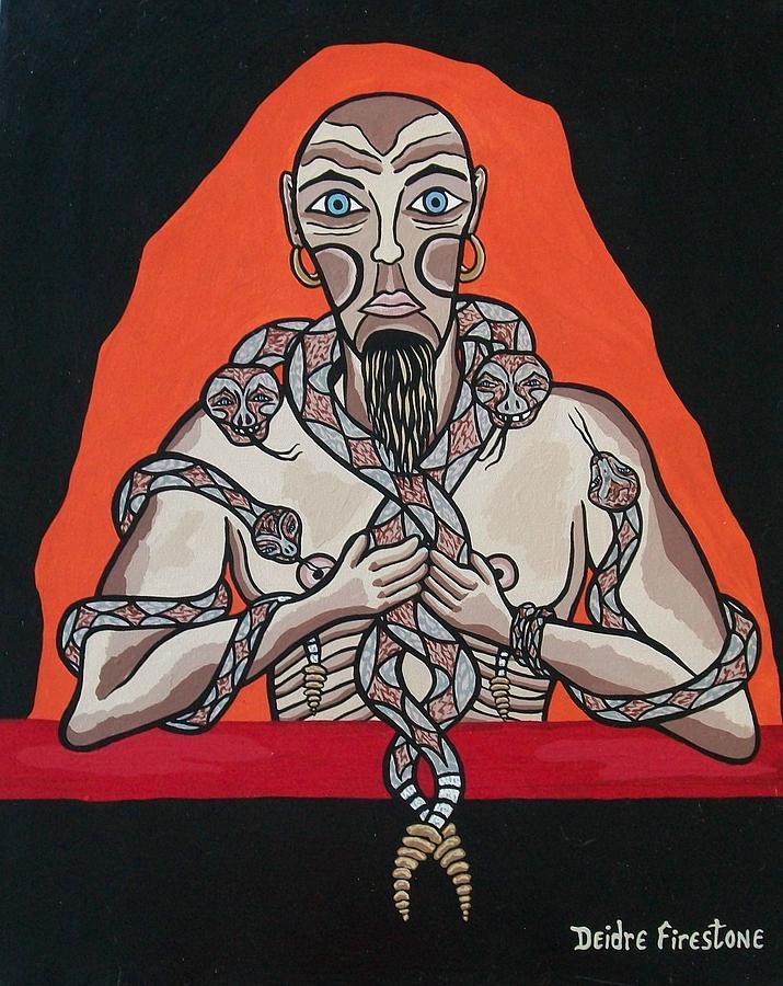 Snake Painting - Snake Mans Twisted Desires by Deidre Firestone