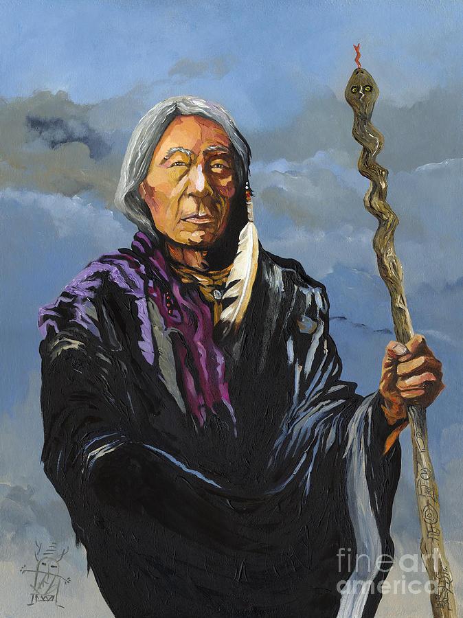 Shaman Painting - Snake Medicine by J W Baker