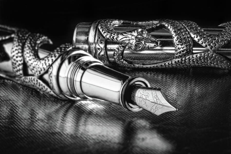 Fountain Pen Photograph - Snake Pen in Black and White by Tom Mc Nemar