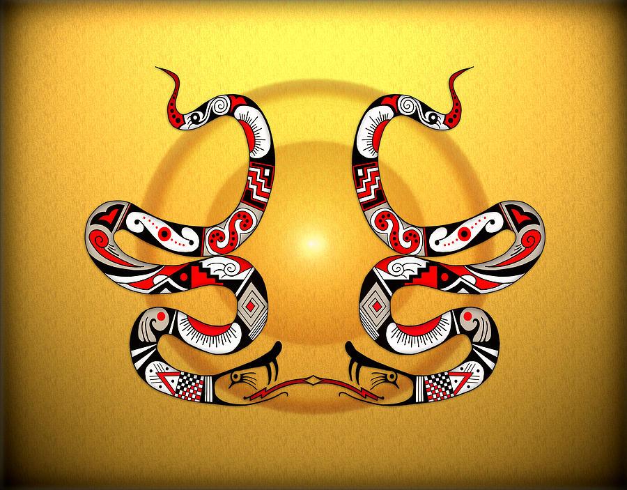 Mata Ortiz Digital Art - Snakes Homage To Mata Ortiz by Tony Ramos