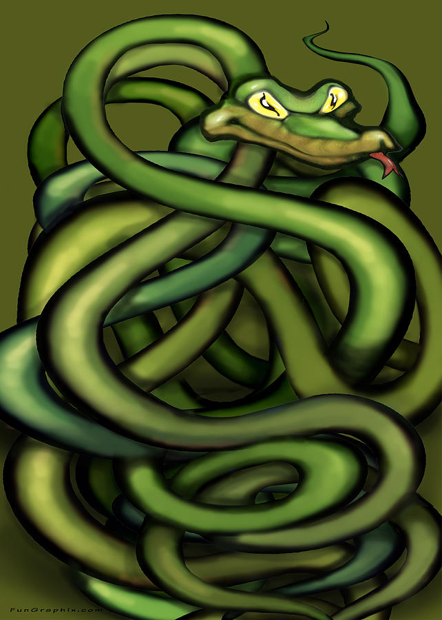 Snake Painting - Snakes by Kevin Middleton