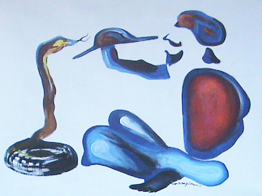 Figurative Painting - Snakesman by Nagin Bangaru