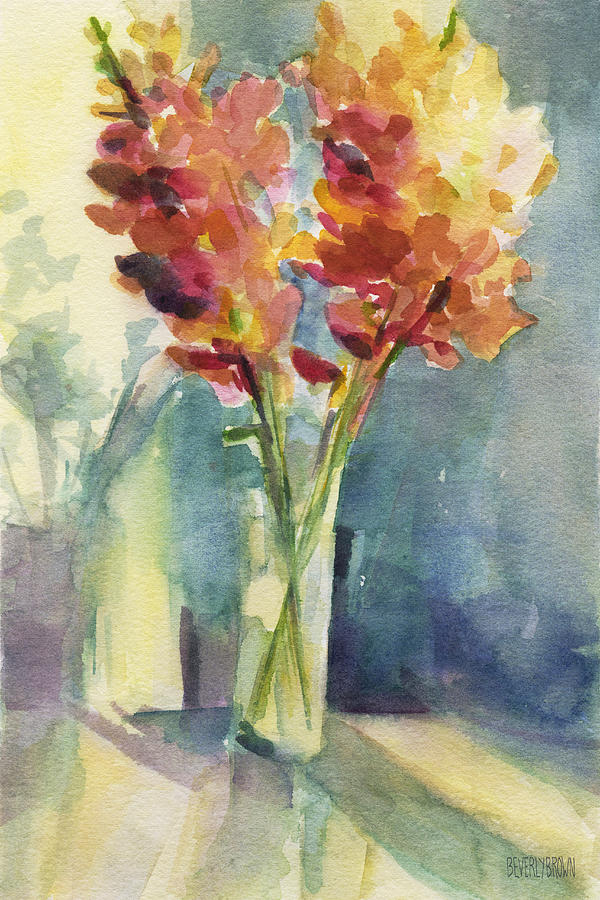 Floral Painting - Snapdragons In Morning Light Floral Watercolor by Beverly Brown Prints