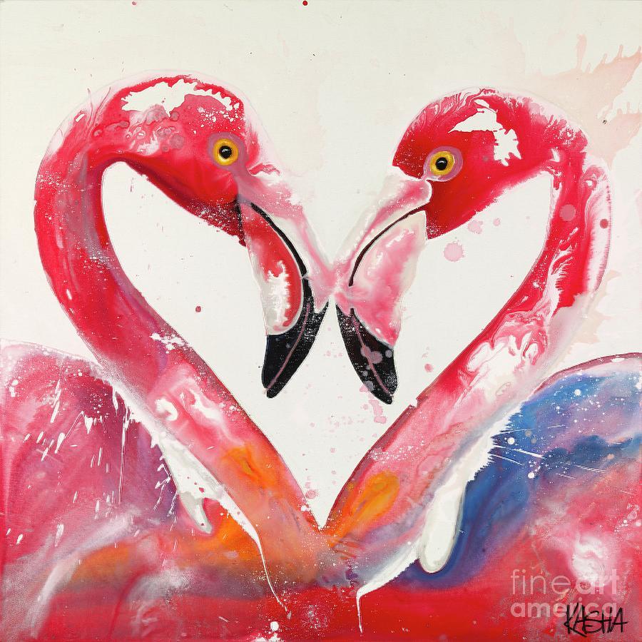 Flamingos Painting - Sneak Beak by Kasha Ritter