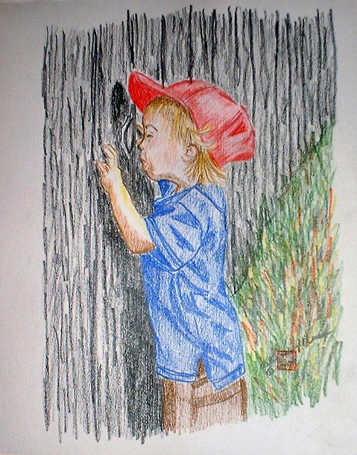 Boy Drawing - Sneak Peek by Arlene  Wright-Correll