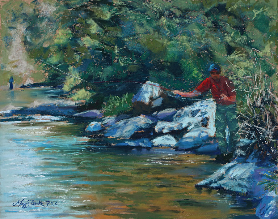Flyfishing Painting - Sneaking Up On A Rainbow by Mary Benke