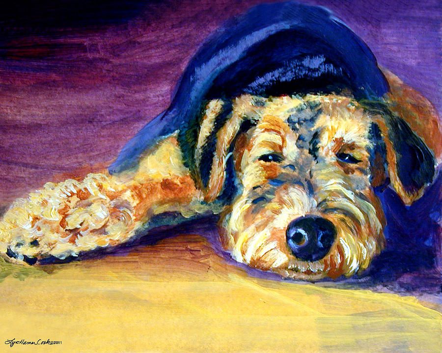 Airedale Terrier Painting - Snooze Airedale Terrier by Lyn Cook