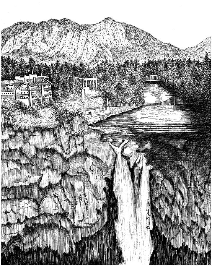 Snoqualmie Drawing - Snoqualmie Falls by Lawrence Tripoli