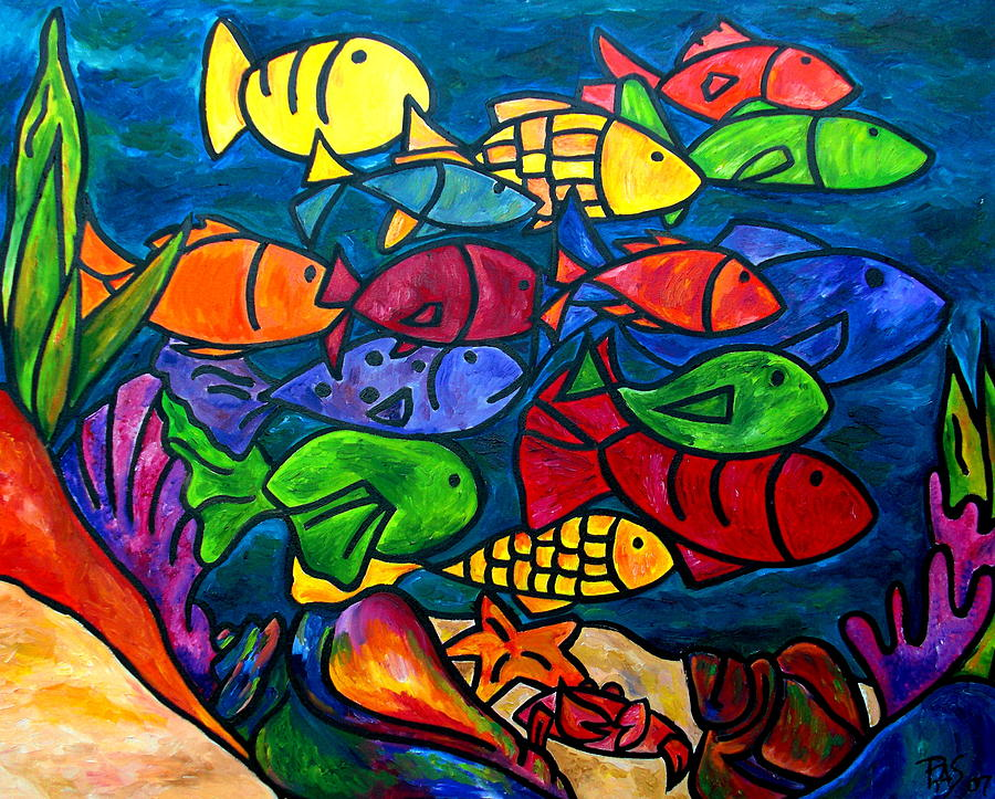 Fish Painting - Snorkeling Off Norman Island by Patti Schermerhorn