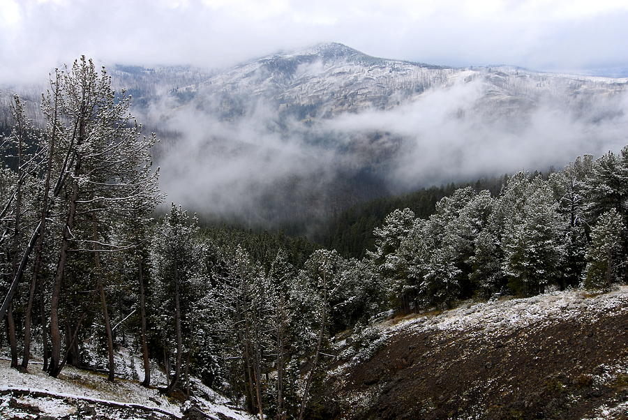Yellowstone National Park Photograph - Snow And Clouds In The Mountains by Larry Ricker