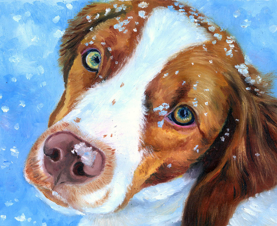 Brittany Spaniel Painting - Snow Baby - Brittany Spaniel by Lyn Cook