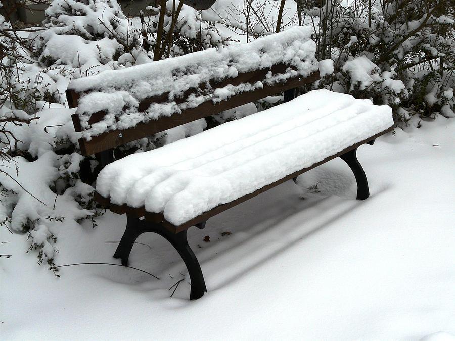 Snow Photograph - Snow Bench by Valerie Ornstein