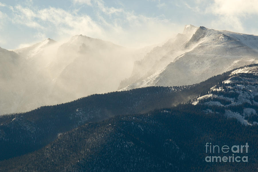Snow Blowing In Morning Light Pikes Peak Photograph