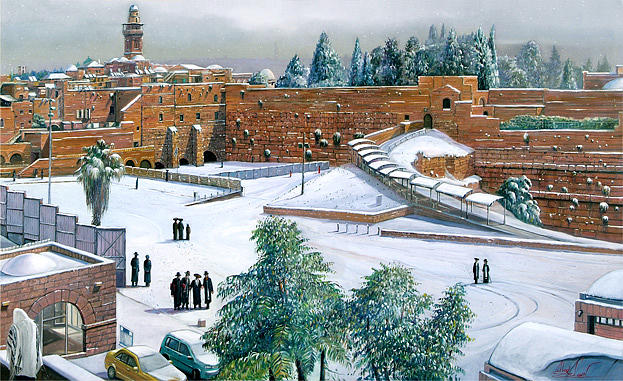 Snow By The Kotel Painting by Alex Levin