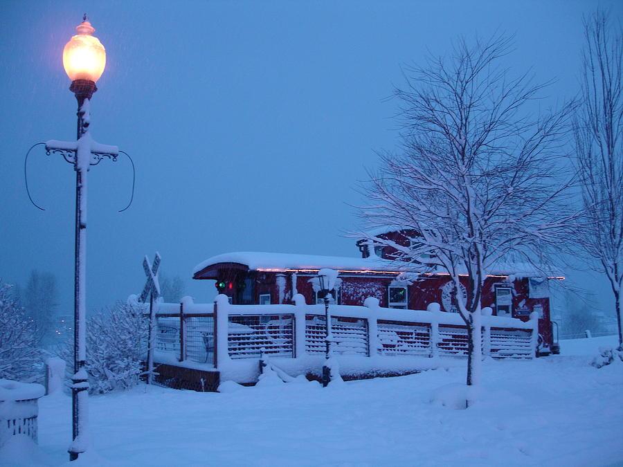 Landscape Photograph - Snow Caboose by Matthew Adair