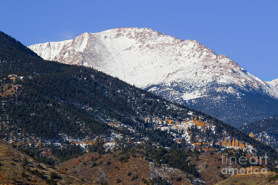 Snow Capped Pikes Peak In Winter Photograph