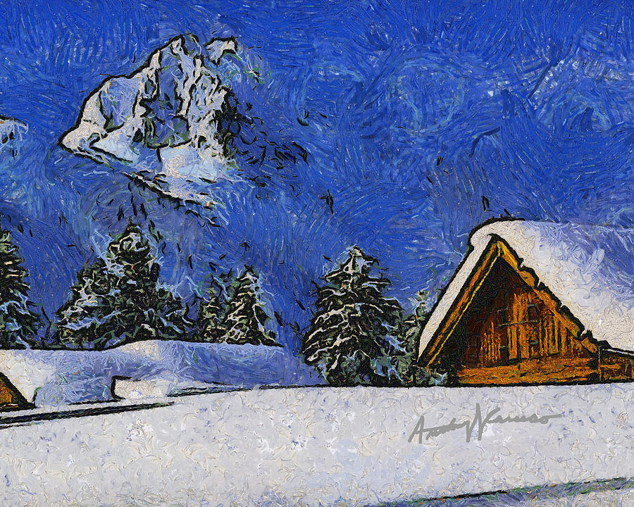 Chalet Painting - Snow Covered by Anthony Caruso