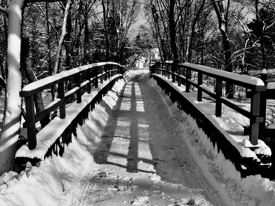 Black And White Painting - Snow Covered Bridge by Daniel Carvalho